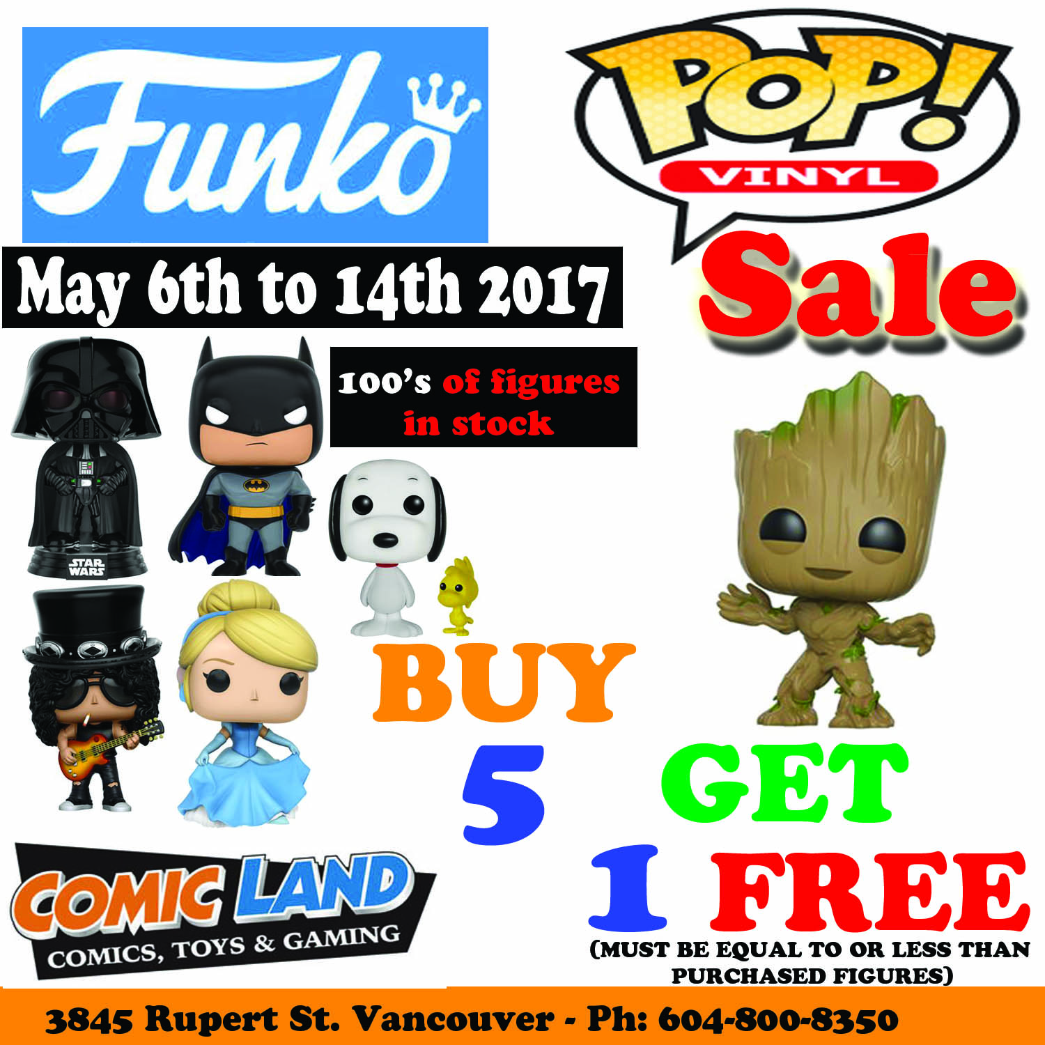 FUNKO POP VINYL SALE EXTENDED - BUY 5, GET 1 FREE- MAY 6TH TO 14TH 2017