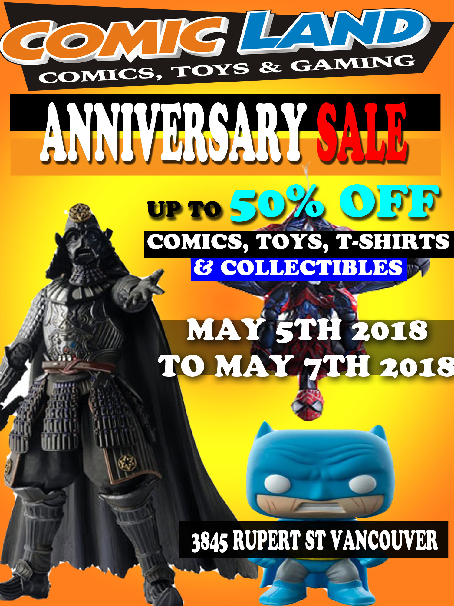 Comic Land Anniversary Sale May 5th to May 7th 2018 - Free Comic Book Day 2018 May 5th 2018
