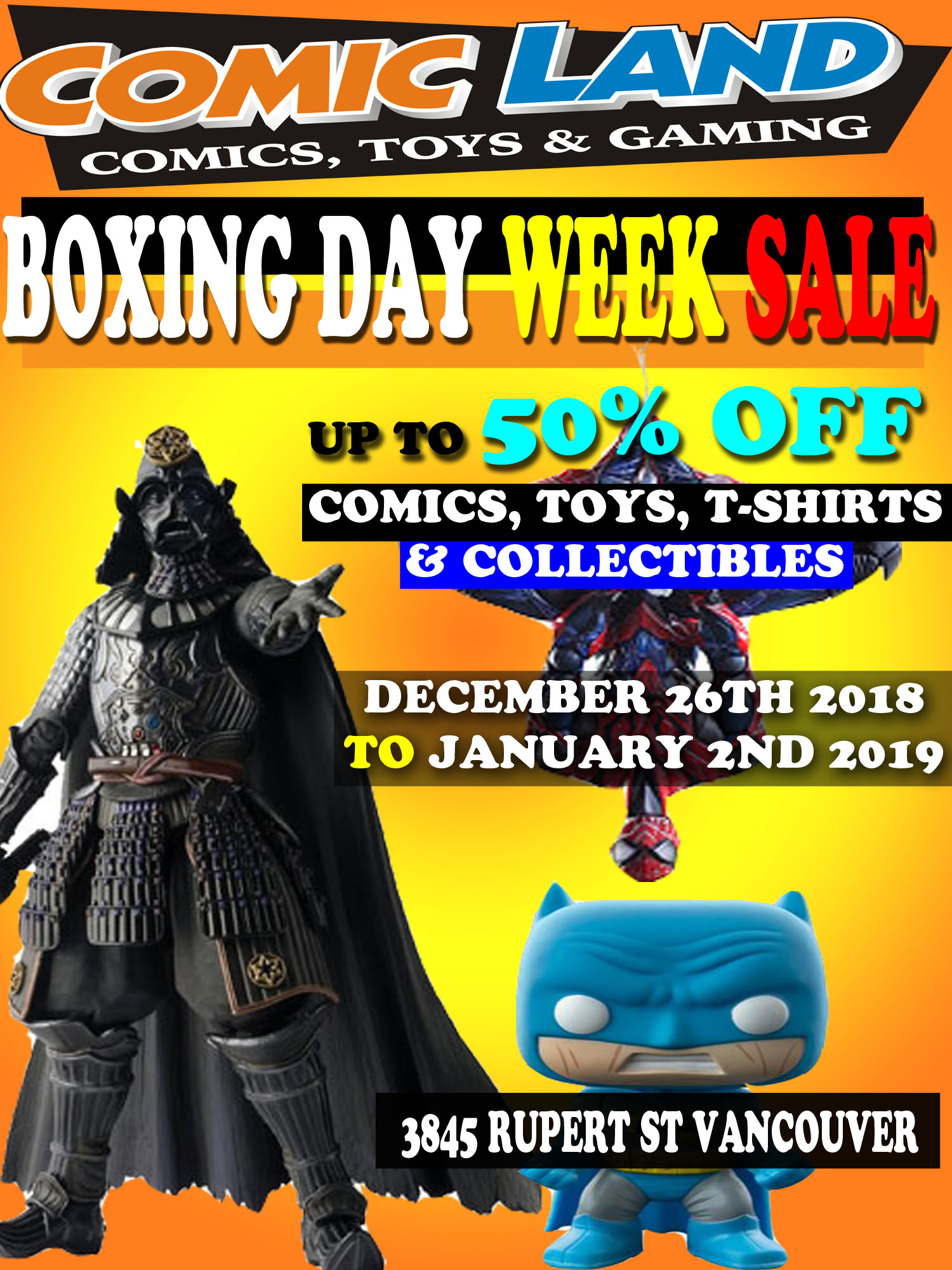 BOXING DAY WEEK SALE DECEMBER 26TH 2018 TO JANUARY 2ND 2019