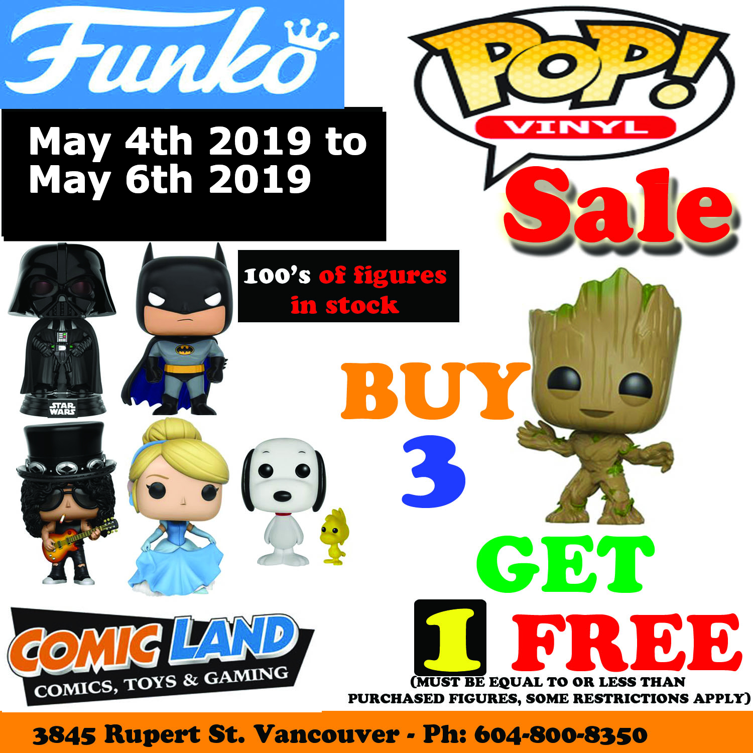 FUNKO POP VINYL FIGURES PROMOTION BUY 3, GET 1 FREE