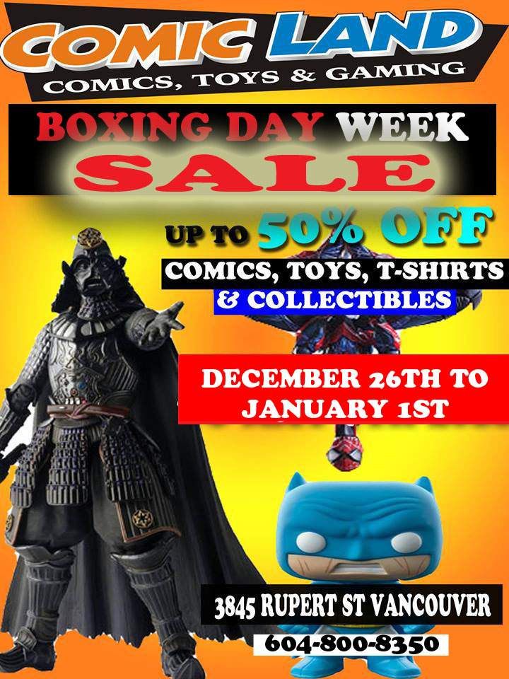 Comic Land Boxing Day Week Sale Dec 26th 2019 to Jan 1st 2020