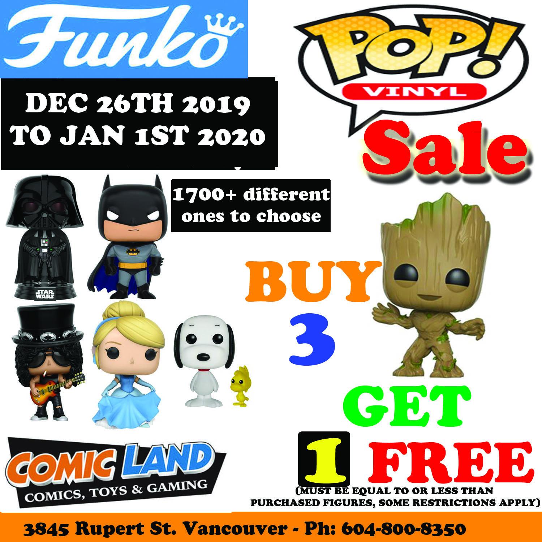 FUNKO POP VINYL FIGURES PROMOTION BUY 3, GET 1 FREE
